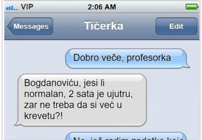 Poslao je SMS-u momku nakon pretraga